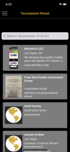 Tournament Planet Business Listing Screen